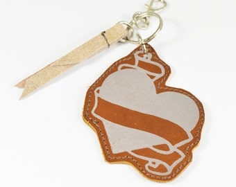 Tan Brown Heart & Scroll Leather Keychain Charm Handmade Keyring