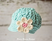 Hats for Toddlers, Crochet Girls Hat in Robin's Egg Blue Cotton, Toddler Girls Hats, 12 Months to 4T
