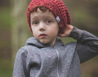 Red Slouch Hat for Kids, Crochet Slouchy Hat, Slouchy Beanie Hat, Boys Hat, Girl's Hat, 5T to Preteen (Morgan)