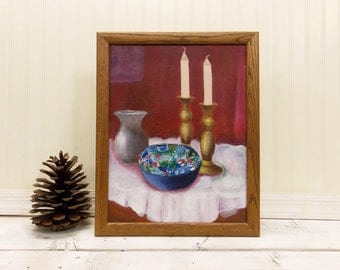 Vintage Original Still Life Oil Painting--- Candlesticks with Blue Pattern Ceramic Bowl-- Formal Place Setting