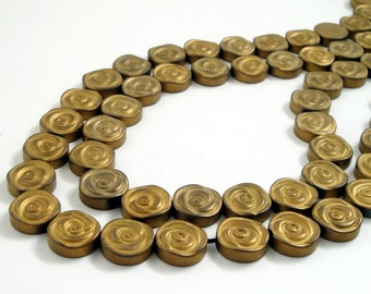 """Hematite Gemstone Metallic - Matte Hematite Coin Beads - Gold Hematite - Natural Flower Shape Non Magnetic Hematite - 7.5""""- 12mm Diy Jewelry"""