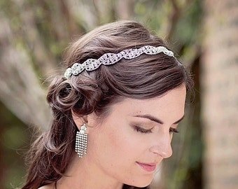 Rhinestone Hairband, Rhinestone Headband, Bridal Headband, Wedding Halo, Wedding Diamante Hairband, Sparkly Headpiece, Bridal Headpiece