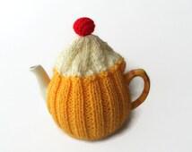 tea cosy cosie cupcake hand knitted tea cozy wool uk seller