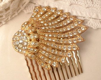 Bridal Hair Comb Gold Art Deco, 1920s 1930s Pave Rhinestone Vintage Dress Clip to Wedding Haircomb, Crystal Antique Hair Comb Hairpiece
