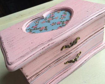 Pink Heart Jewelry Box Shabby