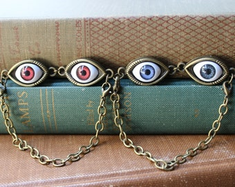 Two Eyes Are Better Than One, Evil Eye bracelet,Antique bronze chain bracelet,Lucky Evil Eye