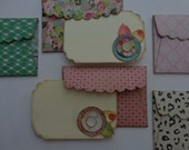6 mini envelopes with cards and seals