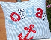 Personalized Appliqued Nautical Name Pillow Cover Boy Birthday Shower gift - Boy's Anchor- Custom Made Nursery décor