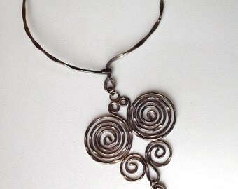 Huge Boho Collar Necklace with Hammered Curls