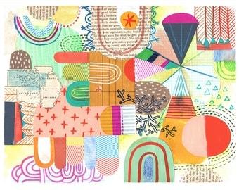 Wonderland, Abstract, Neon, Geometric, Collage, bohemian, Sarah Walsh