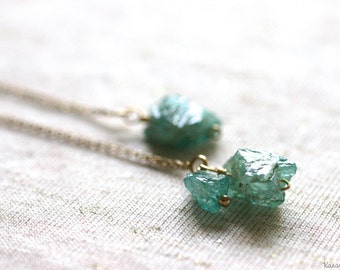 Rough Nugget Apatite 14K Gold Filled Long Chain Earrings