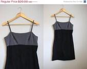 20% Off SALE LABOR DAY 90s Mini Dress Vintage Grunge Bodycon Black Colorblock Xs
