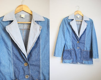 Patchwork Denim Jacket Vintage Hippie Blazer Boho 70s XS
