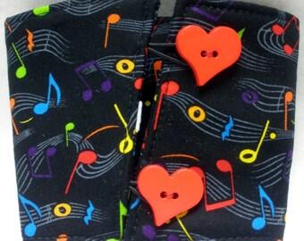 Coffee Cozy -  Coffee Cuff -  Coffee Sleeve - Reuseable Fabric Cozy - Eco Friendly -  Music Lover