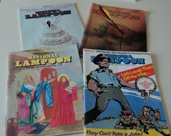 4 Vintage National Lampoon Magazines. 1973 1974 Humor Postwar. Strange Sex. Judaism & Christianity. Love.