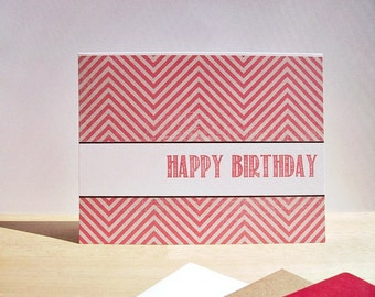 Modern Birthday Card - Muted Red Chevron Happy Birthday, Contemporary Birthday Card, Neutral Modern Invitations, Distressed Red Beige White