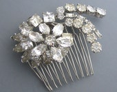 Chunky Floral Vintage Rhinestone Hair Comb