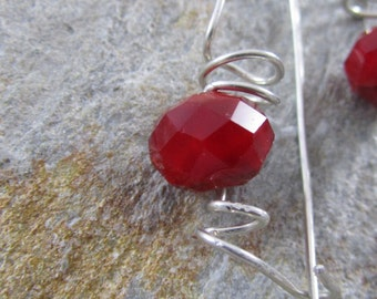 Leverback Swirly Sterling Silver with Red Glass Faceted Beads