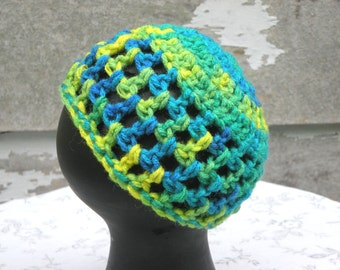 Crocheted Newborn Hat, Open Weave,Tie Dye Green, Yellow and Blue Color, Festive Colors