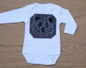 G is for Grizzly - hand drawn, hand printed t-shirt or onesie, dark grey
