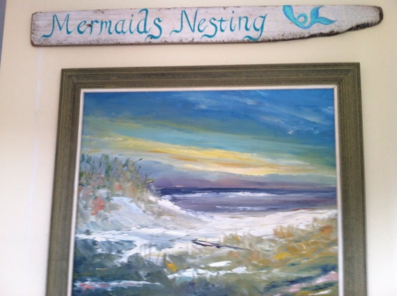 Large Hand Painted Rustic Driftwood Mermaids Sign, Coastal Cottage Home Summer Wall Decor
