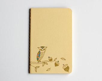 Gold Owl Notebook, Pocket Journal, Illustration, Woodland, Autumn, Idea Notebook, Pastel, Yellow, Hand Drawn, OOAK