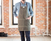 No. 325 Artisan Apron in Olive Waxed Canvas & Brown Horween Leather