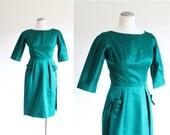 wiggle dress - 50s 60s dress - emerald green dress - silk dress - xs small - valentines day dress