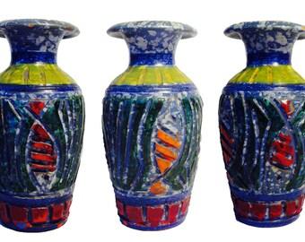 Vintage 60s Raymor Bitossi Italian FISH mid century modern pottery art vase