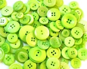 25 BRIGHT Lime Green Buttons -  Assorted sizes - Grab Bag  ( 1488 )