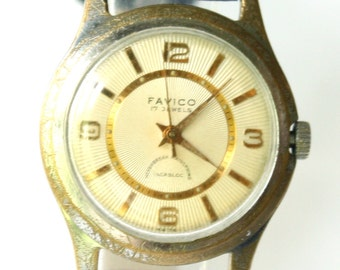 Vintage mens watch Favido Swiss 1950s