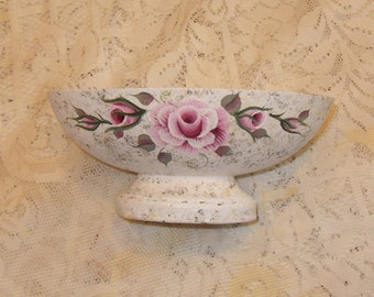 Shabby Cottage Victorian Chic Hand Painted Antique Finish Pink Rose Pedestal Metal Candy Upcycled