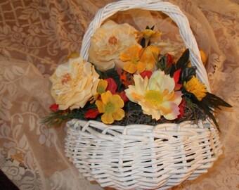 Autumn Floral Arrangement in White Wicker Basket