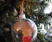 Adoption Ornament for China Africa or other with hand cut, printed message and wool felt heart