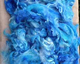 Build a Batt dyed suri alpaca Doll hair/comb your own/bright blue