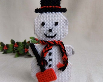 1970s Vintage Needlepoint Snowman Ornament, Hand Crafted Dimensional Snowman, Vintage Christmas Holiday Decor
