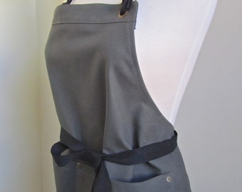 Full Apron Woman Gray Canvas Apron  Short apron work apron custom apron