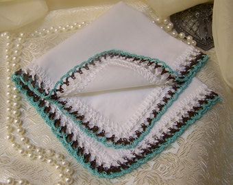 Bridesmaids Handkerchief, Hanky, Hankie, Hand Crochet, Brown, Mint Green, Lace, Monogrammed, Personalized, Embroidered, Bridal party, Lace