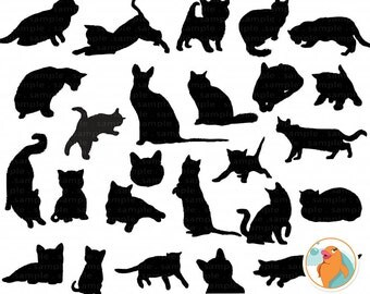 Cat Clip Art, Cat Silhouettes, Kitten Digital Stamps, Kitty ClipArt PNG Images + Photoshop Brush, Cute Animal Instant Download