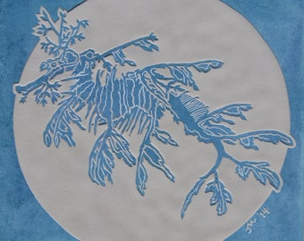 13x13 Leafy Sea Dragon - Etched Ceramic Decorative Tile