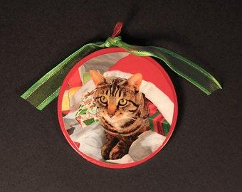 Cat Christmas Ornaments, Santa's Cat in a Sack, Cat Lovers Gift,  Stocking Stuffer, Christmas Tree Ornaments, Designer Art by Deborah Julian