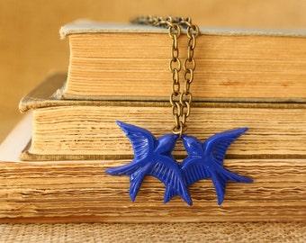 Love Birds Blue Necklace