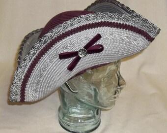 Gray and Burgundy Pirate Hat - Straw and Brocade Tricorn
