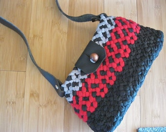 Ready To Ship Handmade OOAK Braided Shoulder bag/Purse/ToteBag with leather strap and accents in black/red/gray by mrsginther