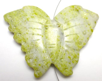 Butterfly Bead Natural Yellow Jade Hand Carved Great Beautiful Coloring Luna Moth Wire Wrapping Amazing Necklace Beading Stringing