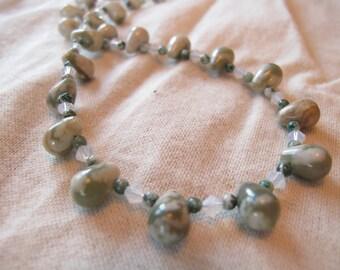 Peace Jade and White Opal Swarovski Necklace-Mermaid Tears