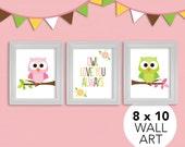 Owl Love You Always Nursery Art Print Set, 8x10, Kids, Baby/Children Wall Art - Pink, Green Owl Always Love You Wall Art by Kelly Medina