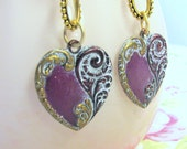 Romantic Heart Earrings - Heart Earrings in Radiant Orchid - Lady Rose - Pretty Orchid Heart Earrings