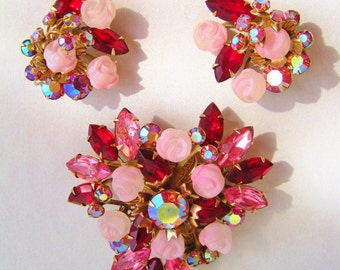 1960s Pink and Red Diamante and Carved Pink Rose Pin and Earring SET