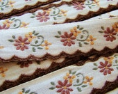 Vintage Fall Floral Embroidered Scalloped Edge Ribbon Brown Cream Yellow – 1 yd
